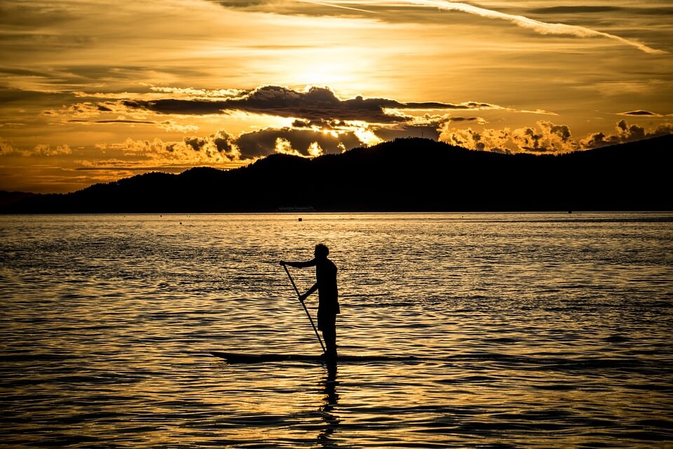 Sup Paddle Board Sunset Stand Up Paddling Nature