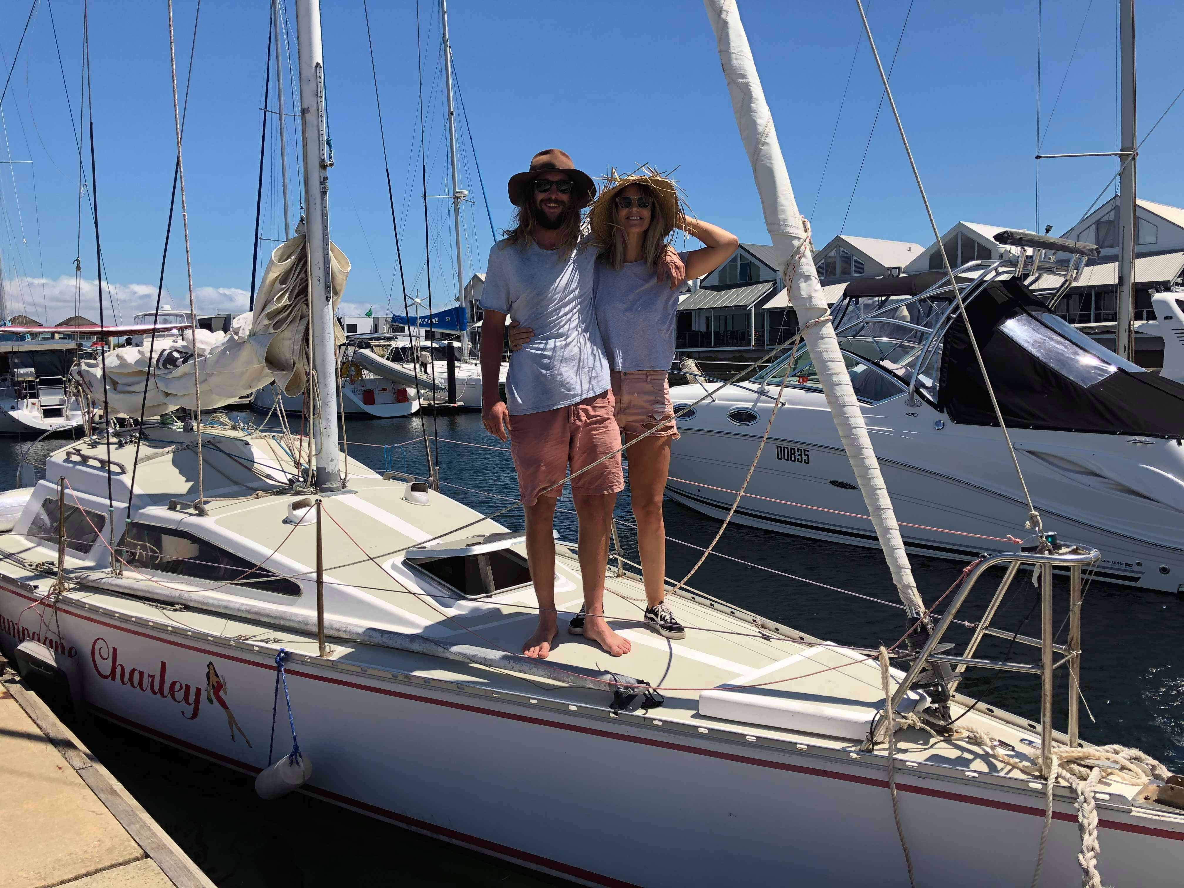Tahlia Walsh and partner Kevin on their yacht